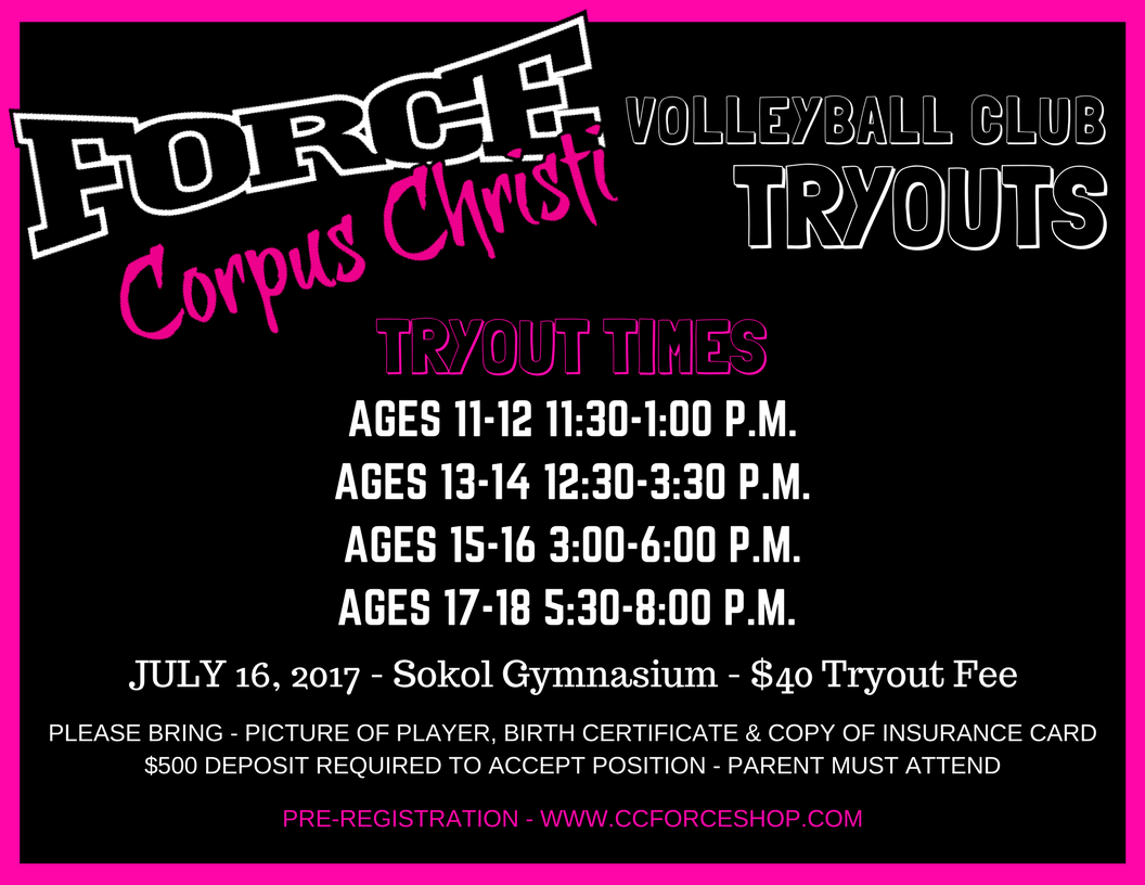 Open Tryouts Corpus Christi Force Volleyball